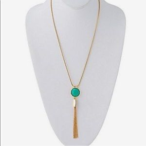 Trina Turk | Long Gold & Green Necklace